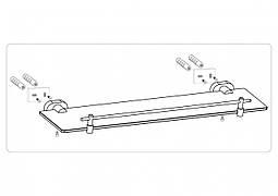 Полиця скляна настінна з металевим каркасом FALA 52 см кріплення дюбель/шуруп
