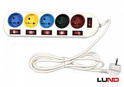 Подовжувач електричний LUND 2 м 5 гнізд з 5 вимикачами 3-жильний Ø1 мм2 з заземленням