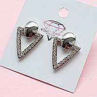Сережки трикутники з камінням. Застібка цвях
