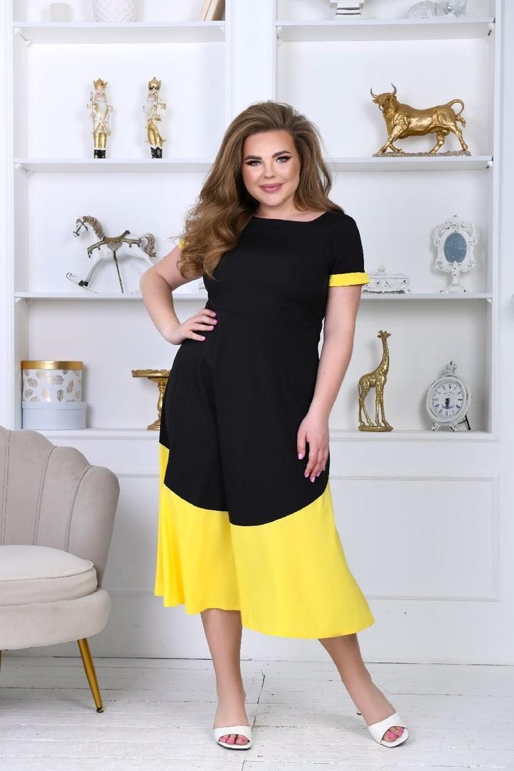 Платье со вставкой женское софт р 48-50; 52-54; 56-58