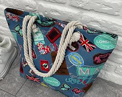 Пляжная женская сумка с канатными ручками