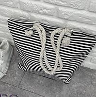 Женская сумка на пляж с длинными ручками в полоску