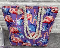 Женская сумка на пляж с длинными ручками с розовым фламинго