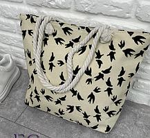 Бежевая женская текстильная сумка на пляж