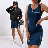 Костюм - двойка женский двунитка 50-52, 54-56 черный+чёрный, марсала+чёрный, красный+чёрный, синий+черный, фото 3