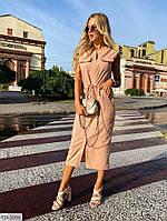 Стильное приталенное платье миди за колено из льна с затяжкой на поясе р-ры 42-48 арт. 425