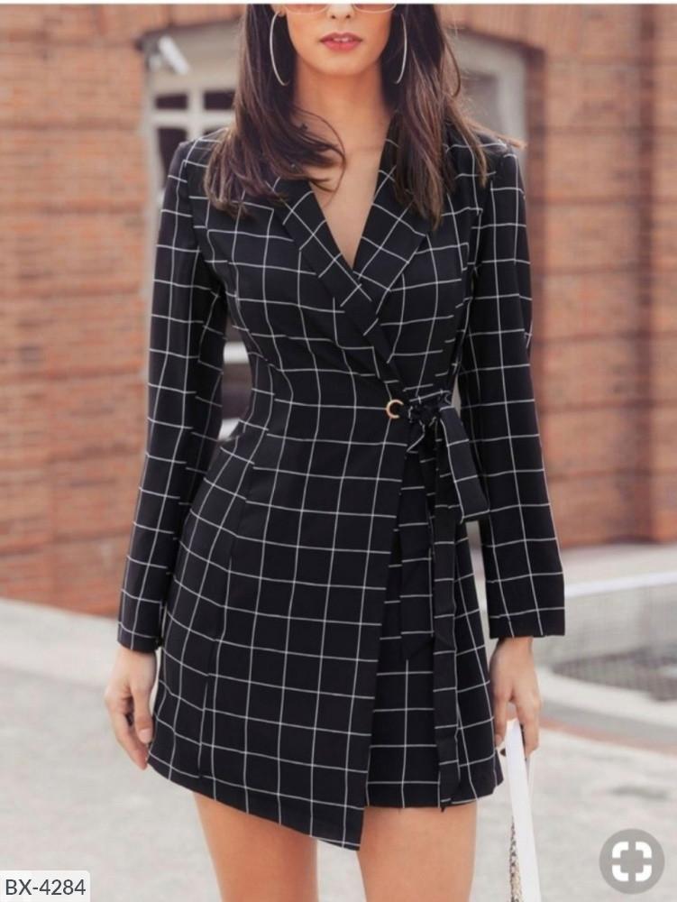 Женское платье - пиджак, габардин - тиар, р-р 44-46 (чёрный)