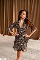 Короткое шифоновое женское платье на запах на подкладке с четвертным рукавом р-ры 40-46 арт. n 499, фото 1