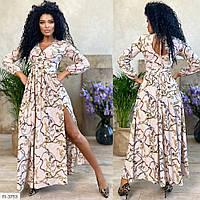 Довге ошатне жіноче плаття в підлогу верх на запах з розрізом на нозі р-ри 42-48 арт. 7946