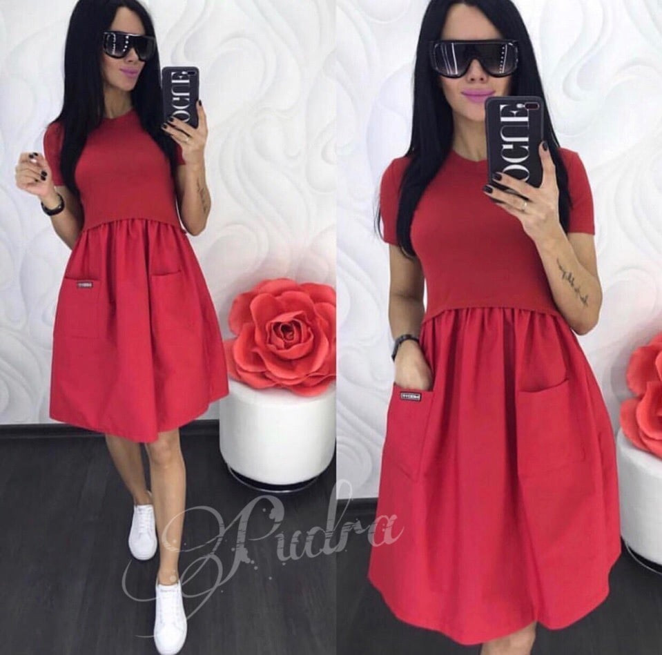 Женское платье, вискоза + софт, р-р универсальный 42-46 (красный)