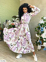 Красиве довге плаття в підлогу з пишною спідницею кльош довгий рукав р-ри 42-46 арт. 7943