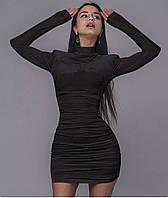 Стильне жіноче облегающеее плаття, під горло з довгим рукавом, фото 1