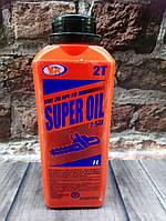 Моторное масло 2T 1 л SUPER OIL для двигателей мотокос, бензопил и другой садовой техники