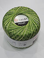 Пряжа нитки для вязания хлопковые   Виолет Ярнарт Violet YarnArt 100% меланж салатовий № 188