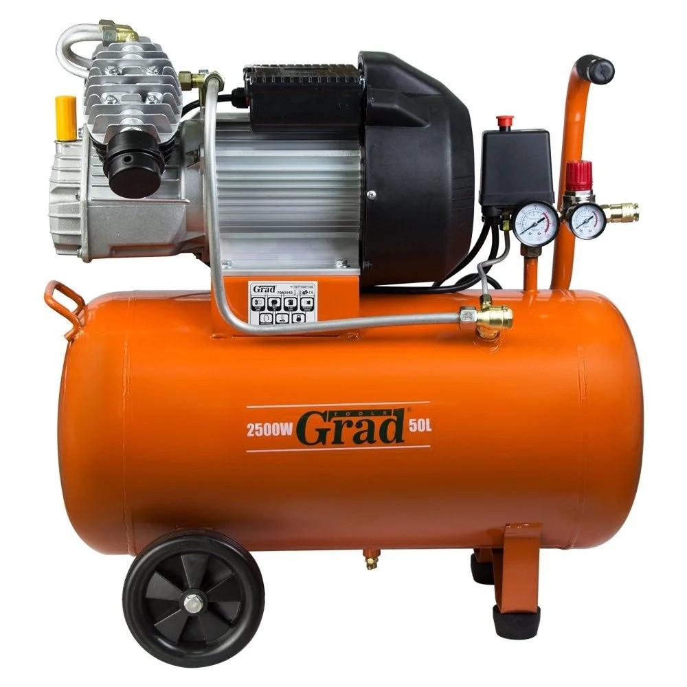 Компресор V 2.5 кВт 435л/хв 8бар 50л (2 крана) GRAD .ВИРОБНИК SIGMA .ПРОФІ СЕРІЯ.