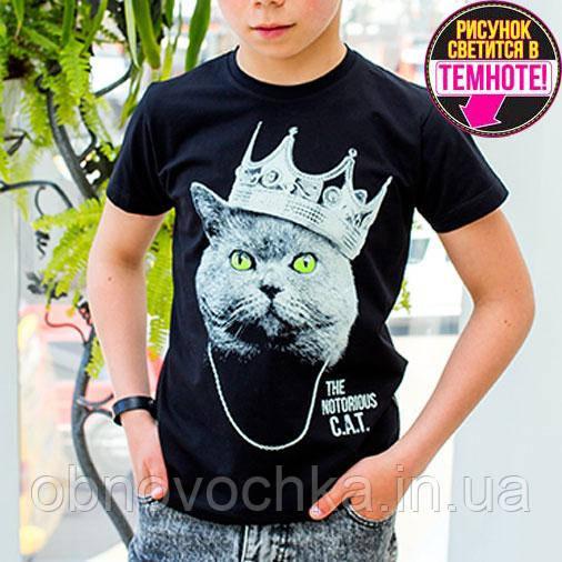 """Светящаяся футболка для подростков """"Кот с короной"""" черный рост 140-146"""