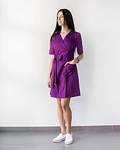 Медицинский женский халат Токио фиолетового коттона  на пуговицах 40-48