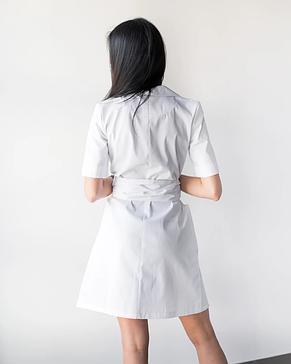 Женский медицинский коттоновый халат Токио белый на пуговицах 40-48, фото 3
