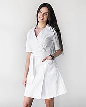 Женский медицинский коттоновый халат Токио белый на пуговицах 40-48