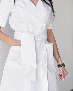 Женский медицинский коттоновый халат Токио белый на пуговицах 40-48, фото 2