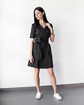 Женский коттоновый черный халат Токио для врачей, косметологов, визажистов 40-48
