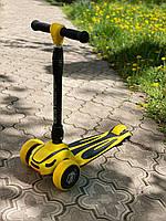 Самокат триколісний, дитячий жовтий самокат S-4788, фото 1