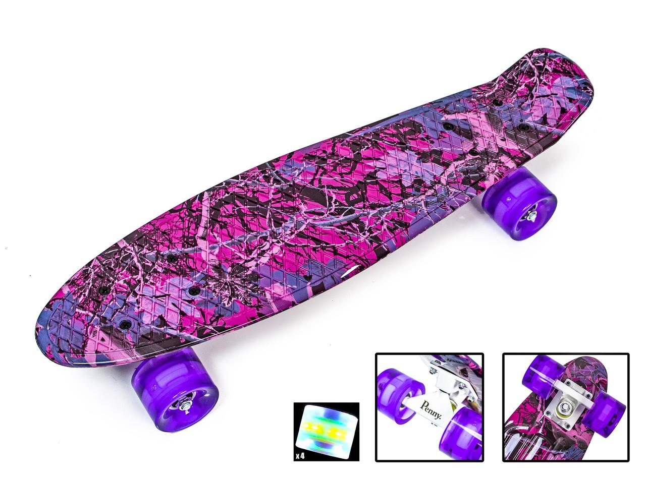 Пенни Борд Penny Board 22Д Розовый лес Светящиеся колеса