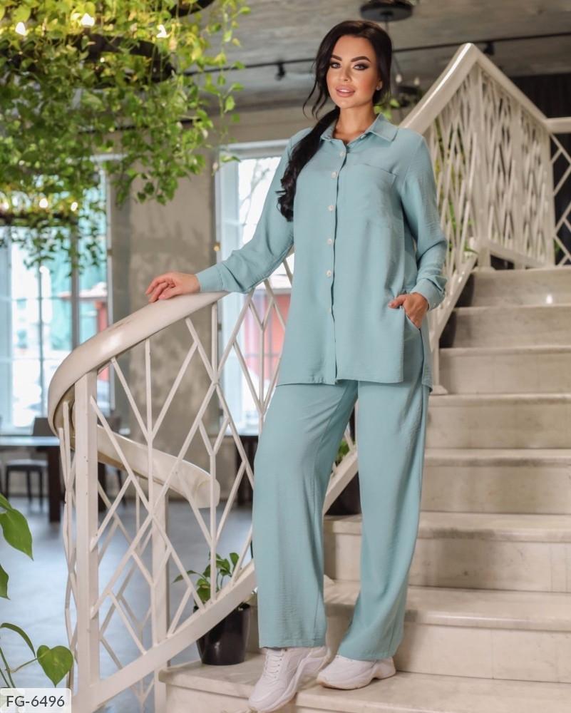 Стильный молодежный брючный костюм с рубашкой свободного кроя р-ры 42-44,46-48 арт 670