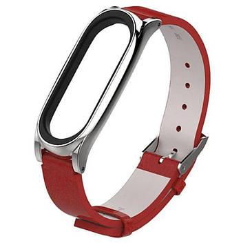 Кожаный ремешок Primo Mijobs для фитнес-браслета Xiaomi Mi Smart Band 6 - Red&Silver