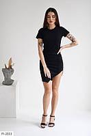 Облягаюче короткий жіноче асиметричне плаття з коротким рукавом на літо р-ри 42-48 арт. 313