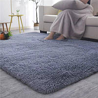 Пухнастий приліжковий килимок з довгим ворсом Травичка 100*200 сірий, фото 1
