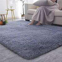 Пушистый прикроватный коврик с длинным ворсом  Травка 100*200 серый