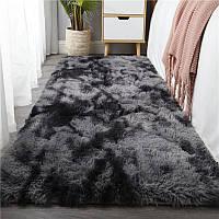 Ворсистий приліжковий килимок з довгим ворсом Травичка 90*200 темно-сірий