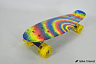 Пенни борд Ecoline Surfer радуга со светящимися колесами