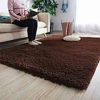 Пухнастий приліжковий килимок Травичка 100*200 коричневою, фото 1