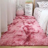 Пушистый пятнистый  прикроватный коврик  Травка 100*200 розовый