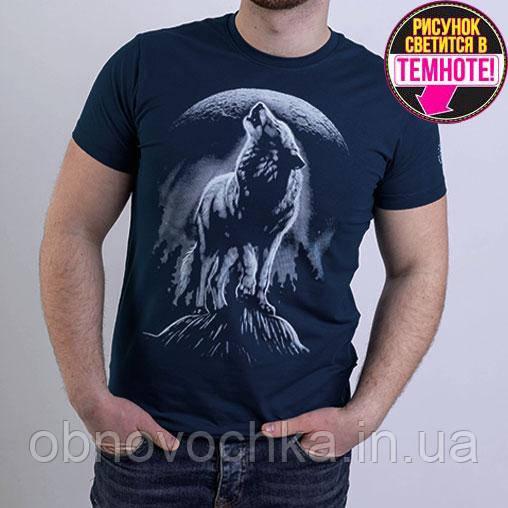 """Мужская светящаяся футболка """"Воющий волк"""" фума размер XL"""