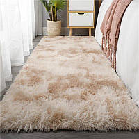 Пушистый пятнистый  прикроватный коврик  Травка 150*200 бежевый