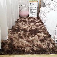 Лохматый  пятнистый  прикроватный коврик  Травка 100*200 коричневой