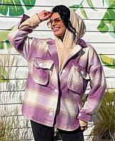 Жіноча стильна тепла сорочка пальто на гудзиках, фото 1