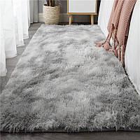 Кошлатий плямистий килимок травичка в наявності 90*200 сірий