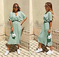 Женское стильное приталенное платье с коротким рукавом, фото 1