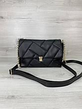 Жіноча чорна сумка W64604 крос-боді через плече міні на клямці