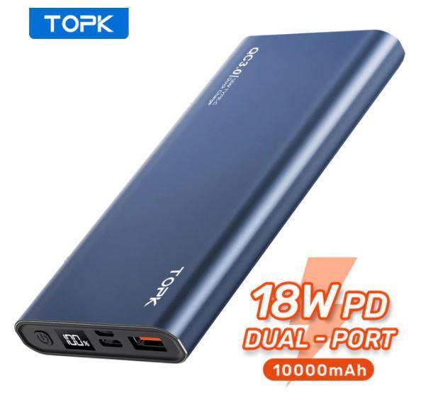 Портативное зарядное устройство TOPK 10000 мАч 18W QC3.0 PD (NAVY)