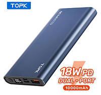 Портативний зарядний пристрій TOPK 10000 маг 18W QC3.0 PD (NAVY), фото 1