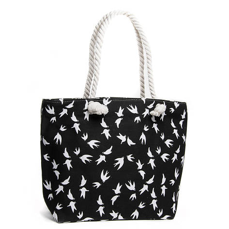 Жіноча яскрава пляжна містка текстильна сумка Case 08s05m5011-2 чорна, фото 2