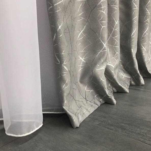 Сонцезахисні штори з льону блекаут | Готові штори з льону | Якісні штори з льону | Сірі штори |