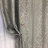 Сонцезахисні штори з льону блекаут | Готові штори з льону | Якісні штори з льону | Сірі штори |, фото 2