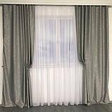Сонцезахисні штори з льону блекаут | Готові штори з льону | Якісні штори з льону | Сірі штори |, фото 3