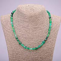 Бусы из натурального камня Зеленый Агат галтовка d-7х9(+-)мм L-48см купить оптом в интернет магазине